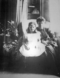 Grand Duchess Anastasia with her Aunt Irene in the Mauve Room at the Alexander Palace in Tsarskoe Selo, 1906