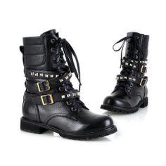 6c3ab3db38bbf Women Black Genuine Leather Punk Lace Up Rivet Motorcyle Military Combat  Boots