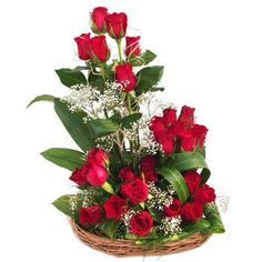Our Beautiful Roses basket and leaves tied in a bouquet by our florist. You can send flowers with get well soon wishes  through shop2Hyderabad.com.