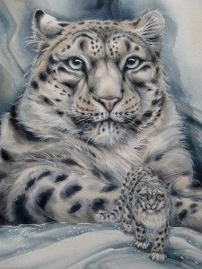 Snow leopard. This lady can paint. Check out her blog!