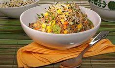 Ensalada de lentejas, zanahoria y maíz dulce.