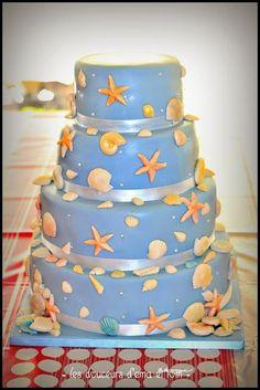 Wedding Cake sur le théme de la mer