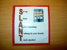 SLANT strategy to help with focus and attention
