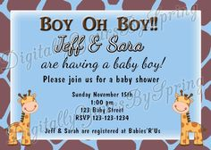 Shop for on Etsy, the place to express your creativity through the buying and selling of handmade and vintage goods. Baby Shower Printables, Baby Shower Invitations, Baby Shower Giraffe, Having A Baby Boy, Party Needs, Digital Invitations, For Your Party, Rsvp, Invite