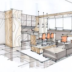 Interior design is the best thing you can do for your home Sketchbook Architecture, Croquis Architecture, Interior Architecture Drawing, Interior Design Renderings, Architecture Concept Drawings, Drawing Interior, Interior Rendering, Interior Sketch, Interior Design Tips