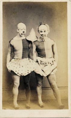 ca. 1875, [carte de visite portrait of two clowns or acrobats in costume], Rom Photographic Studio