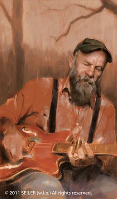 I\'m working on a few non-caricature type pieces in hopes to get additional illustration work as I enjoy doing this kind of work and would like to get paid for it! :) This is Seasick Steve who is awesome, if you like the blues, you\'ll dig his music! Blues Rock, Seasick Steve, Soul Surfer, Music Artwork, Art Music, Blues Music, New Artists, Music Artists, Portrait Art