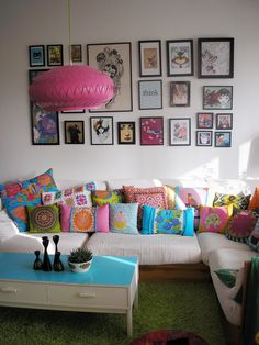 I love the idea of bright colors in the living room! A great place to do our living!