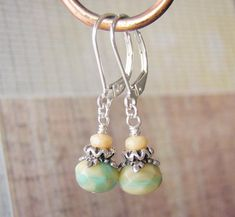 Cream Earrings Turquoise Accents Sterling Silver Leverback Ear Wires #Handmade #DropDangle