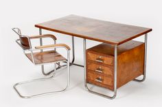 Italian Bauhaus Desk and Chair by Marcel Breuer, 1930s | From a unique collection of antique and modern desks and writing tables at https://www.1stdibs.com/furniture/tables/desks-writing-tables/