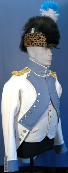 French Lieutenant Infantry Uniform, circa 1791, right front view.