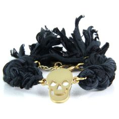 Ettika Black Vintage Ribbon Bracelet with Skull Charm