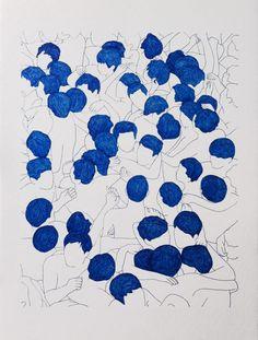 "Francisco Hurtz : ""Untitled"", blue nankeen on paper, 2014 Art And Illustration, Art Inspo, Kunst Inspo, Typographie Inspiration, Art Et Architecture, Blog Art, Plakat Design, Ouvrages D'art, Grafik Design"