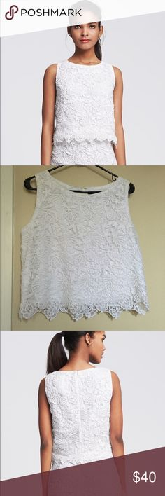 Banana Republic White Lace Cropped Tank Waist length, white lace cropped tank, with zipper in back. There is a tiny bit of a makeup stain on the inside, but not noticeable at all when wearing. Banana Republic Tops Crop Tops