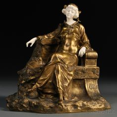 Theophile Francis Somme (French, 1871-1952) Bronze and Ivory Figure of a Seated Woman in a Garden