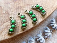 4x Pea Pod Charms, Small Cute Antique Brass Pendants C292