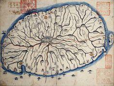 Old Map of Jeju-do. 지도 위의 지역은 현재의 제주도 북제주군 추자면에 해당된다. 서울대학교 규장각 지리지 종합정보