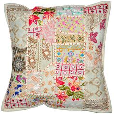 24x24 indian patchwork pillow cover white bohemian pillow indian cushion cover large throw - Large Decorative Pillows