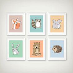 Woodland-Kunstdruck Set Kindergarten Art Set Kinder von DCAStudio