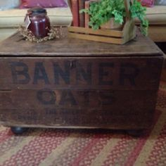 Old grain shipping crate used for a coffee table.... would love to have this.