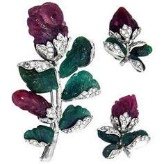 1950s Ruby Diamond Platinum Flower Ear Clip and Brooch Set