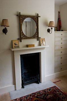 A Young UK Designer with an Old Soul - Remodelista Fireplace Frame, Simple Fireplace, Bedroom Fireplace, Fireplace Mantels, Warm Home Decor, Diy Home Decor, Home Bedroom, Girls Bedroom, Bedrooms