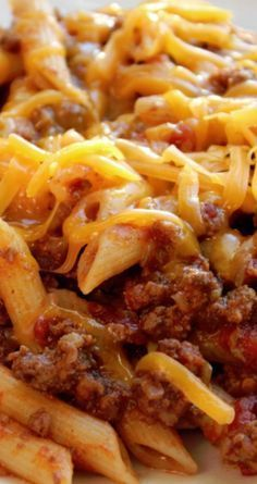 Crock Pot Cheesy Hamburger Casserole ~ So easy to make and tastes ah-mazing!