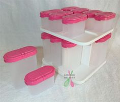 Tupperware Modular Spice Carousel with 16 Spice Containers - Pink Punch