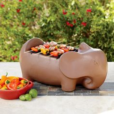 Super cute and great size for just a little bit of grilling! Terracotta Elephant Grill | World Market