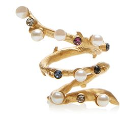 Ring with Pearls and Swarovski Crystals Pearl Ring, Pearl Jewelry, Crystal Jewelry, Jewelry Rings, Jewellery, Swarovski Crystal Rings, Pearl White, Gold Pearl, Diamond Cluster Ring