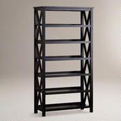 Antique Black Verona Six-Shelf Bookcase