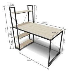 Computer Desk Design, Computer Desks For Home, Home Desk, Welded Furniture, Table Furniture, Home Furniture, Industrial Style Furniture, Unique Furniture, Office Furniture Design
