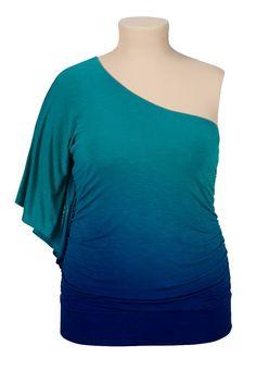 One shoulder ombre plus size top
