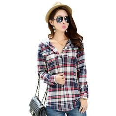 VESTLINDA Casual Red Plaid Blouse Shirt Women Spring Long Sleeve Hooded Shirt Blouse Blusas 2017 Female Flannel Top Outerwear