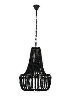 Koralky 3 Light Pendant in Black 3 Light Pendant, Pendant Lighting, Beaded Chandelier, Home Lighting, Wooden Beads, Decorative Bells, Ceiling Lights, Contemporary, Luxury