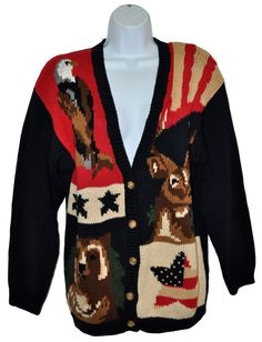The Eagles Eye National Wildlife Womens Sweater Bear Deer Eagle Patriotic Sz L #TheEaglesEye #Cardigan