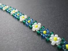 Potawatomi Daisy Chain beaded bracelet. More inspiration for a Rainbow Loom bracelet, especially for Daisy Scouts.