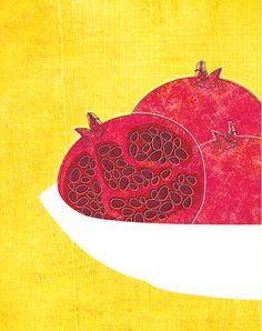 Pomegranates in bowl kitchen art print Art Print