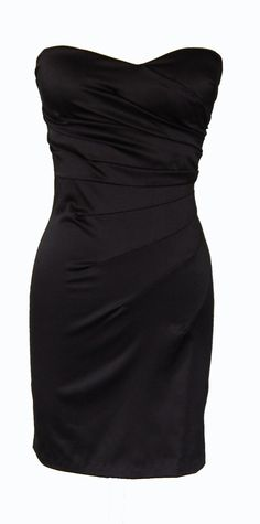 Black Strapless Gathered Cocktail Dress