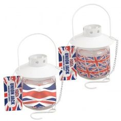 Union Jack Hanging Candle in Glass