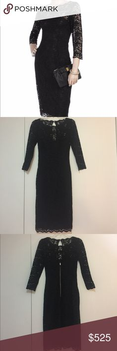 """Dolce & Gabbana Black Lace Sheath Dress Dolce & Gabbana Black Lace Sheath Dress with scalloped edges, wide neckline and all the ladylike and elegant qualities you'd expect from the premier Italian label. Size 40 (~US 2-4). 65% Polyamide, 35% Viscose.                                 Measurements: Dress Length: 43"""", Waist: 13.5"""", Hips: 18"""", Armpit to Armpit: 16.5"""", Sleeve Length: 21.5"""" (from top of shoulder)/ 14.5"""" (from armpit). Dolce & Gabbana Dresses Midi"""