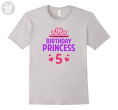 Mens Girls 5 Five Years Old BIRTHDAY PRINCESS t shirt Small Silver - Birthday shirts (*Amazon Partner-Link)