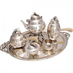 Sterling Silver Tea Set Style of Georg Jensen Blossom : Lot 226