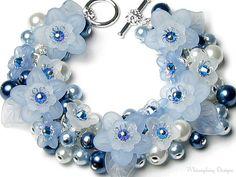 Sleeping Beauty Blue Floral Crystal Pearl Charm Bracelet