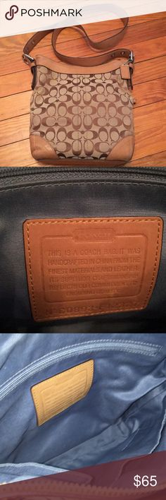 Coach Cross Body EUC authentic Coach signature collection crossbody. Small scuffs on bottom leather, otherwise looks brand new. Smoke free/pet free home Coach Bags Crossbody Bags