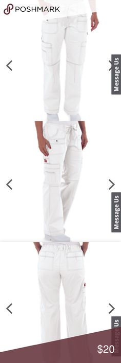 NWT DICKIES GEN FLEX CARGO SCRUB PANTS Women's 2XL New with tags! White cargo GEN FLEX scrub pants by Dickies. Size women's junior 2XL. I wear both women's and juniors and don't find a difference in fit...but that's just me. Dickies Pants Straight Leg
