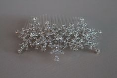 Diamante snowflake hair comb large winter wedding hair comb christmas party .