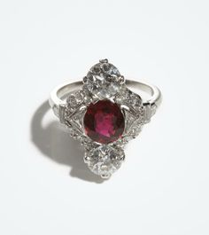 RAYMOND YARD, An Art Deco Ruby and Diamond Ring, c 1925