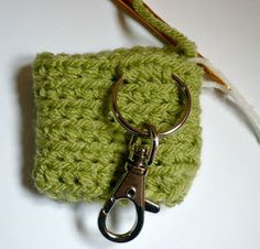 Materials: * Worsted weight acrylic yarn * crochet hook * inch button * Swivel clasp with split ring * stitch markers (I us. Diy Crochet Coin Purse, Crochet Hooks, Free Crochet, Stitch Markers, Key Rings, Free Pattern, Coins, Crochet Patterns, Bag