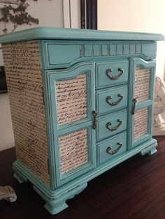 Vintage Jewelry Box Upcycled Hand Painted And Decoupaged In Tiffany Blue from ColorfulHomeDesigns on Etsy. Saved to my work. #vintage #dresser #blue #want #love #jewelry #teal #cute.